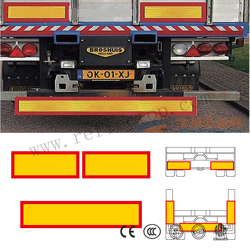 rear marking plate for heavy and long vehicles